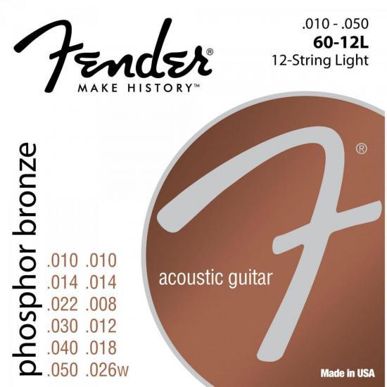 Encordoamento para Violão 12 Cordas Aço 0.010 60-12L Bronze Fosforoso FENDER