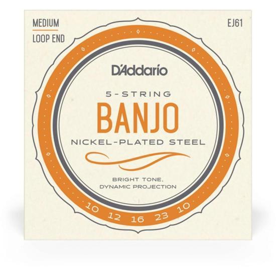Encordamento p/Banjo 5 Cordas Médio EJ61 Níquel 10-23 D'ADDARIO