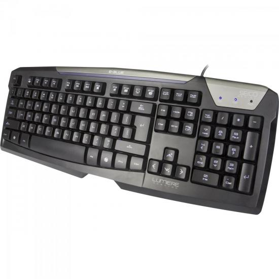 Teclado Gamer USB LUMIERE Preto E-BLUE