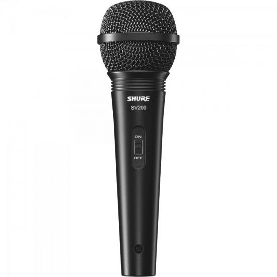 Microfone de Mão Multifuncional Com Fio SV200 Preto SHURE (60439)