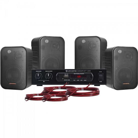 Kit Som Ambiente 400W Musical AMBIENCE 4000 Preto HAYONIK (60472)