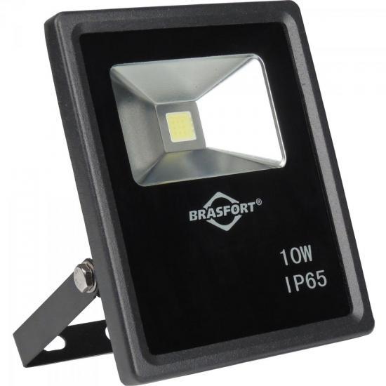 Refletor de LED 10W 6500K Bivolt SLIM Preto BRASFORT (60716)