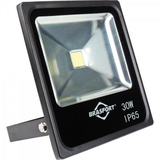 Refletor de LED 30W 6500K Bivolt SLIM Preto BRASFORT