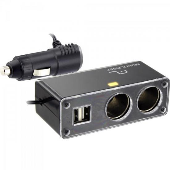 Adaptador Veicular USB + 12V AU905 Preto MULTILASER