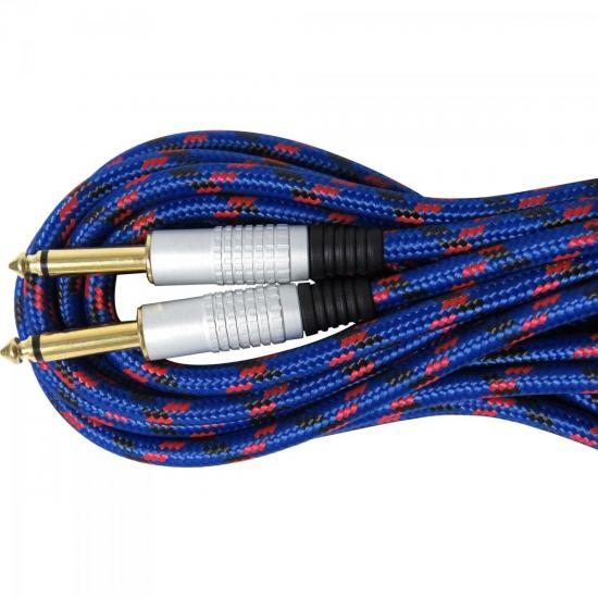 Cabo Guitarra P10 x P10 5m CBGU0006 Azul Têxtil STORM
