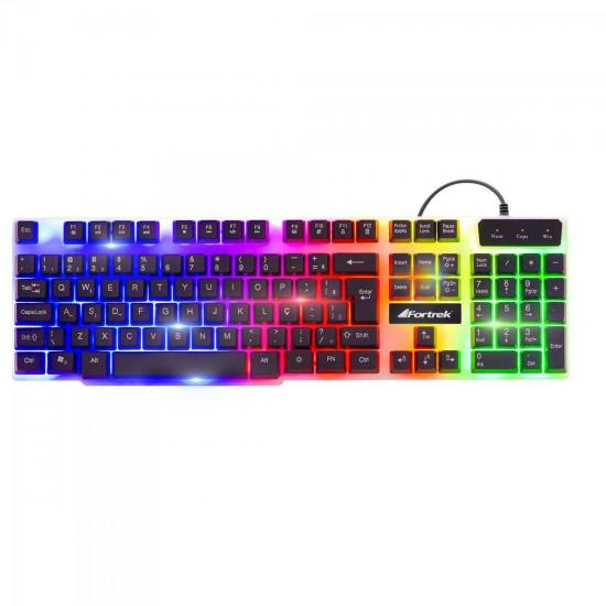 Teclado Gamer Multimídia CHROMATIC GK-710 Preto com LED Colorido FORTREK