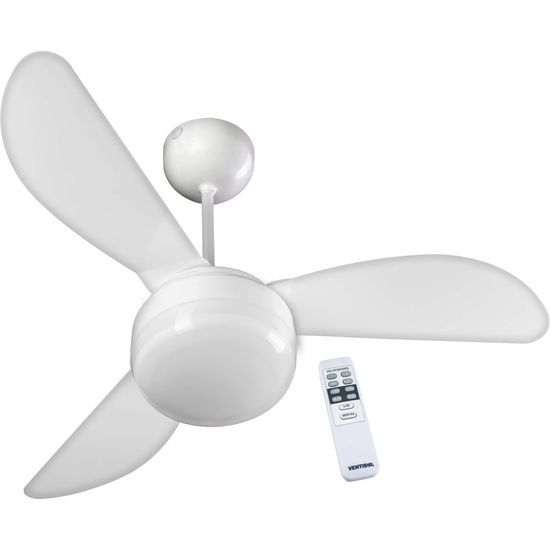 Ventilador de Teto 3 Pás 127V com Controle FENIX Branco VENTISOL