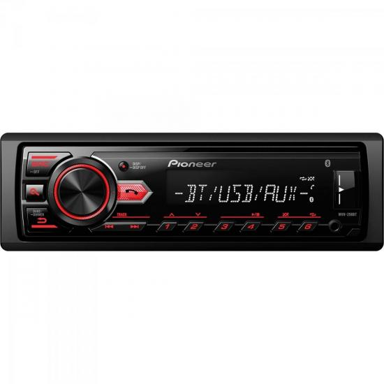 Auto Rádio USB/AM/FM/Bluetooth MVH-298BT Preto PIONEER