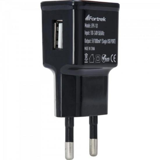 Fonte de Energia USB 1 Portas 1A UPK-101 Preto FORTREK (61938)