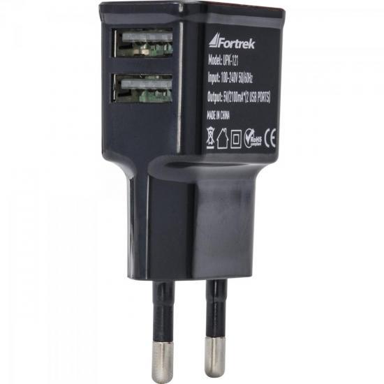 Fonte de Energia USB 2 Portas 2,1A UPK-121 Preto FORTREK