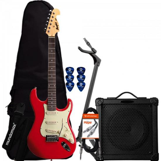 Kit Guitarra MG32 Vermelha Memphis + Cubo + Capa + Acessórios