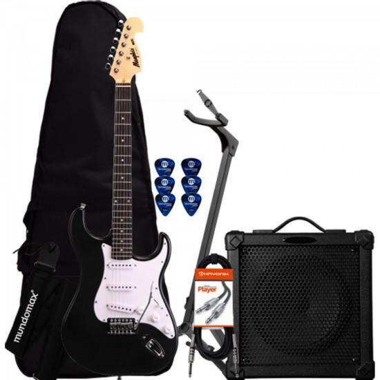 Kit Guitarra MG32 Preta Memphis + Cubo + Afinador + Capa + Acessórios