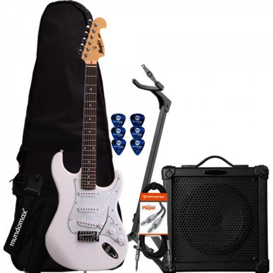 Kit Guitarra MG32 Branca Memphis + Cubo + Capa + Acessórios