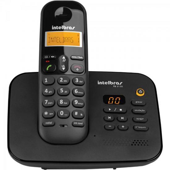 Telefone sem Fio com ID + Secretária TS-3130 Preto INTELBRAS