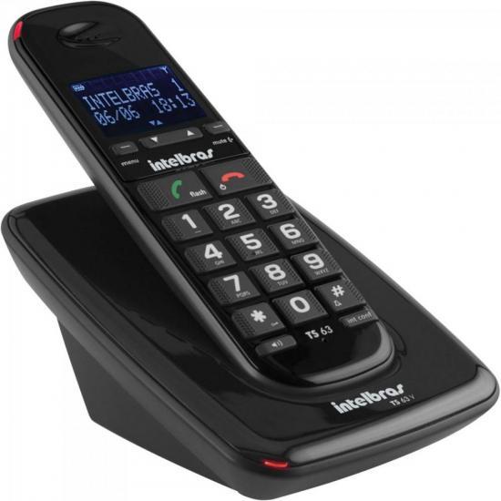 Telefone sem Fio com ID TS-63-V Preto INTELBRAS