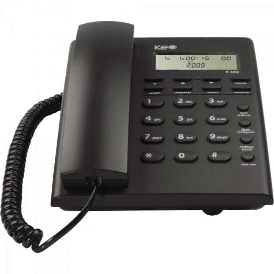 Telefone de Mesa com Identificador de chamada K302 Preto KEO