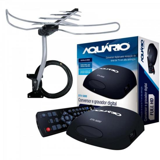Kit Conversor de TV Digital AQUARIO + Antena Externa