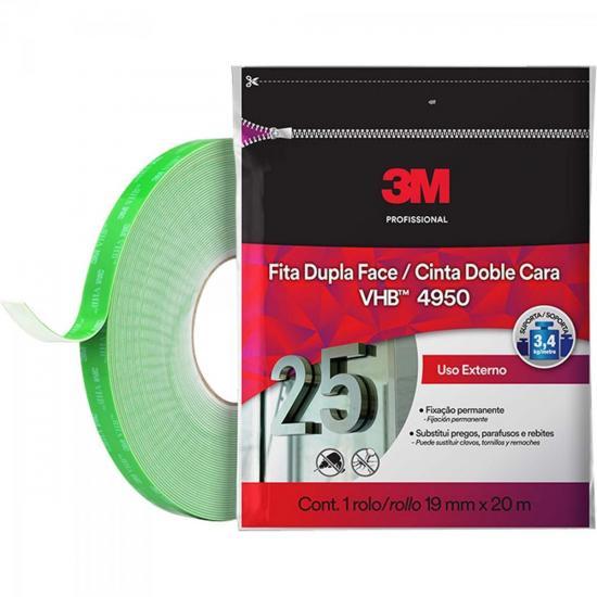 Fita Dupla Face 19mm x 20m VHB 4950 FP Transparente 3M