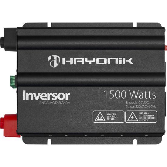 Inversor 1500W 12VDC/220V Onda Modificada Cinza Escuro HAYONIK