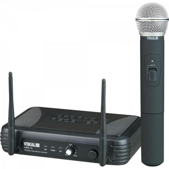 Microfone de Mão UHF VWR15M Preto VOKAL