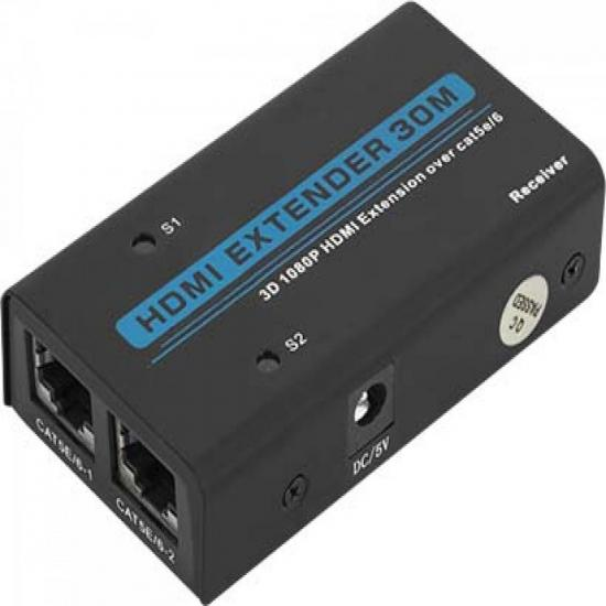 Extensor de HDMI 1080P 3D com LAN RJ45 30m CB0332 Preto RONTEK