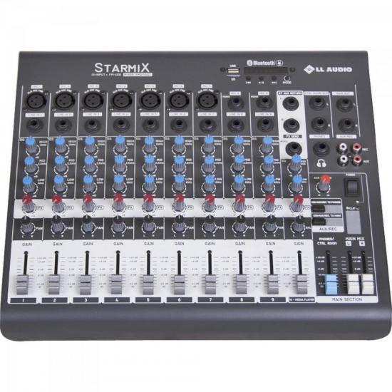 Mesas de Som c/ 10 Canais Stereo Starmix XMS1002R Cinza LL AUDIO