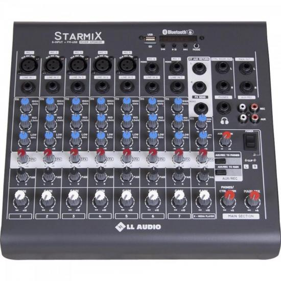 Mesa de Som c/ 08 Canais Stereo Starmix XMS802R Cinza LL AUDIO