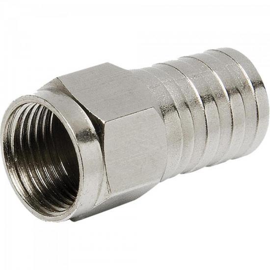 Conector F Tipo Barril Para Crimpar RG59 CONF0006 Níquel STORM