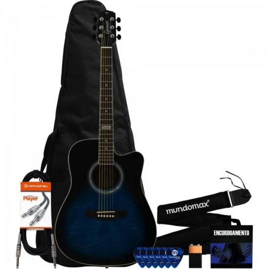 Kit Violão Eletroacústico GF-1D Dark Blue Burst + Correia + Capa + Acessórios