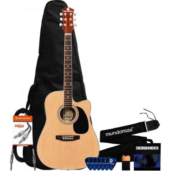 Kit Violão HARMONICS GE-30 Eletroacústico Folk Natural + Capa + Acessórios