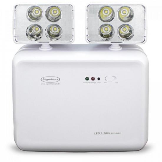 Iluminação de Emergência Bivolt LED 2200 Branca SEGURIMAX (63486)