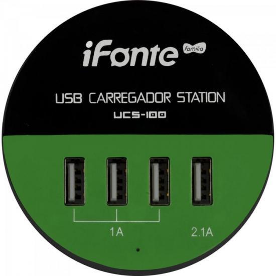 Carregador USB 4 Portas UCS-100 Preto/Verde EXBOM