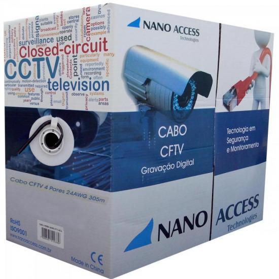 Cabo CFTV UTP 305m 04x24AWG Preto NANO ACCESS (63916)