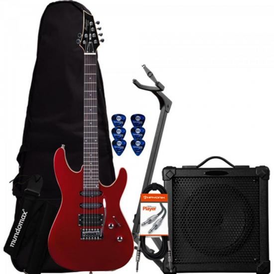 Kit Guitarra MG230 Vermelha MEMPHIS + Cubo + Capa + Acessórios