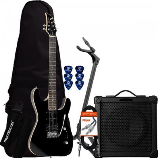 Kit Guitarra MG230 Preta MEMPHIS + Cubo + Capa + Acessórios