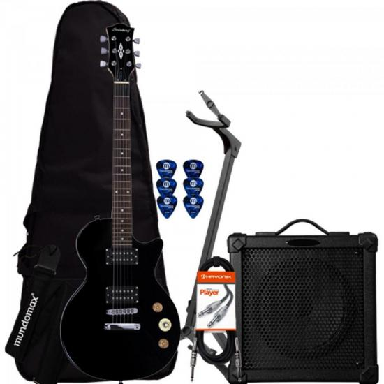 Kit Guitarra LPS-200 Preta STRINBERG + Cubo + Capa + Acessórios