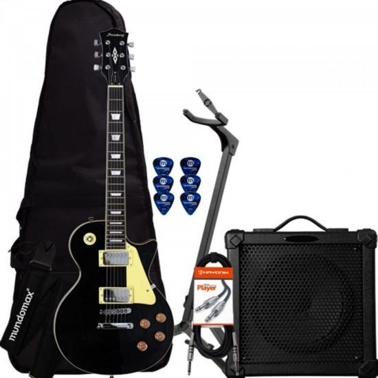 Kit Guitarra LPS-230 Preta STRINBERG + Cubo + Acessórios