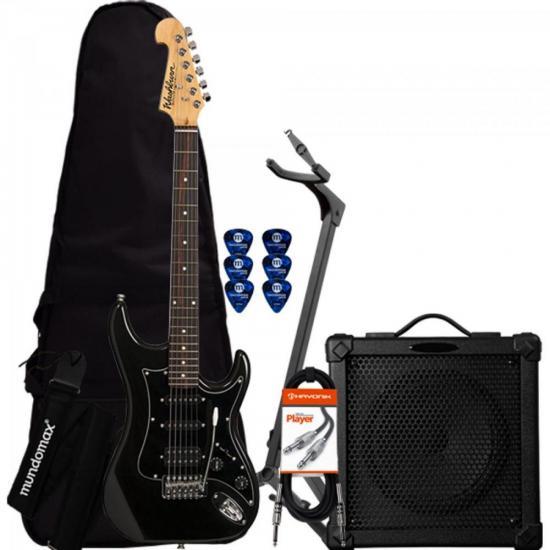 Kit Guitarra Sonamaster S2HMB Preta WASHBURN + Cubo + Acessórios