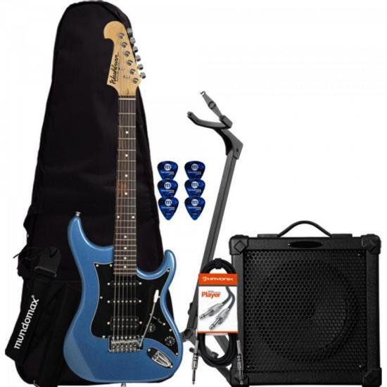 Kit Guitarra Sonamaster S2HMB Azul WASHBURN + Cubo + Capa + Acessórios