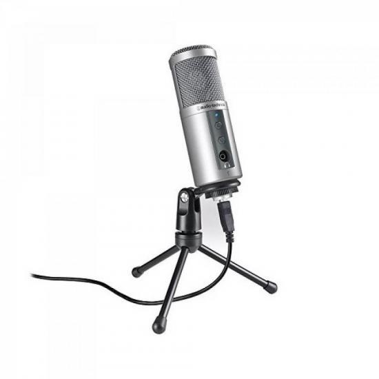 Microfone Condensador Cardioide ATR2500 USB Prata AUDIO TECHNICA