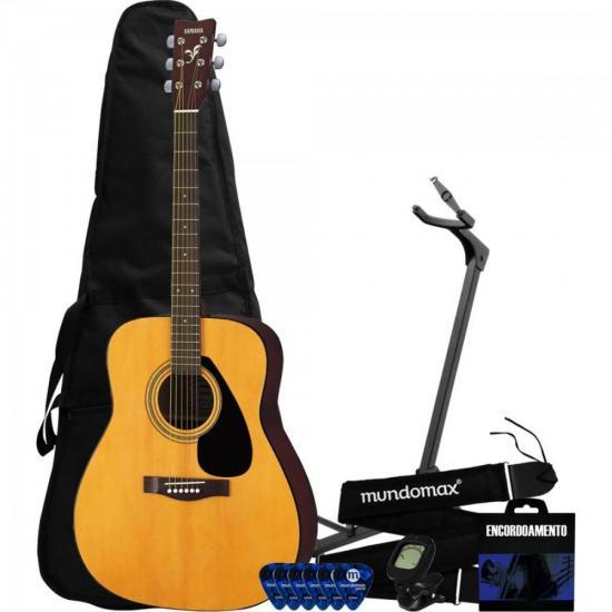 Kit Violão Acústico Folk Aço F310 Natural Yamaha + Capa + Suporte + Acessórios