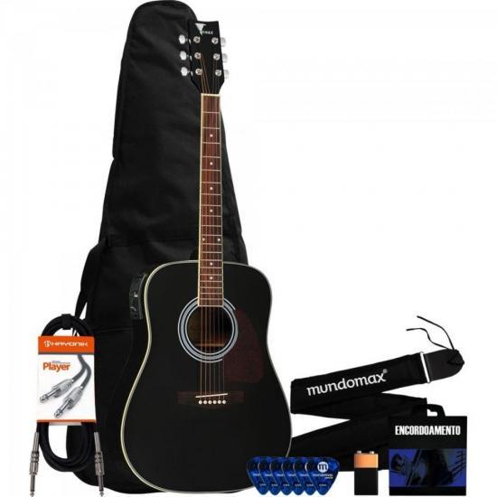 Kit Violão Eletroacústico Folk Aço CH887 Preto Eagle + Capa + Correia + Acessórios