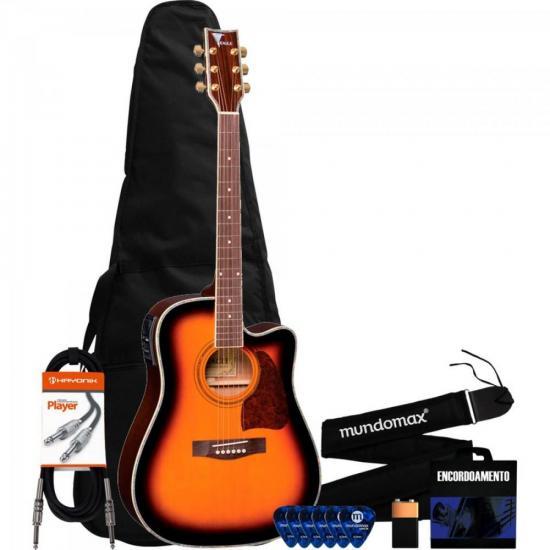 Kit Violão Eletroacústico Folk Aço CH889 Sunburst EAGLE + Acessórios