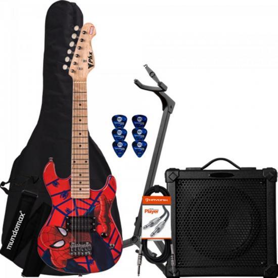 Kit Guitarra Infantil Marvel Spider-Man PHX + Cubo + Capa + Acessórios