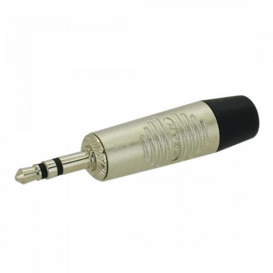 Plug P2 Macho RTP3C/10 Preto / Níquel REAN