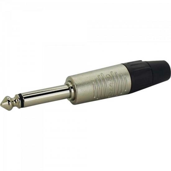 Conector P10 Macho c/ 2 Pólos (Mono) RP2C/10 Preto/Níquel REAN