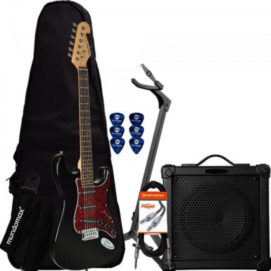 Kit Guitarra Strato G-100 Preta com Escudo Tortoise GIANNINI + Cubo + Capa + Acessórios