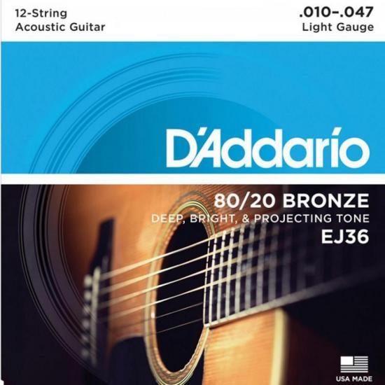 Encordoamento Violão 12 Cordas Aço EJ36 010 80/20 Bronze D'ADDARIO