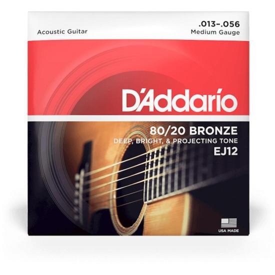 Encordoamento Violão Aço MÉDIO EJ12 0.13 80/20 Bronze D'ADDARIO