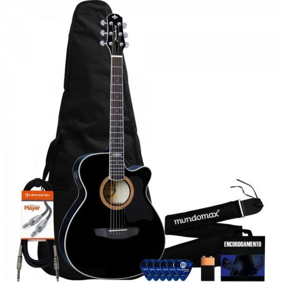 Kit Violão Eletroacústico SA20C Black STRINBERG + Capa + Acessórios